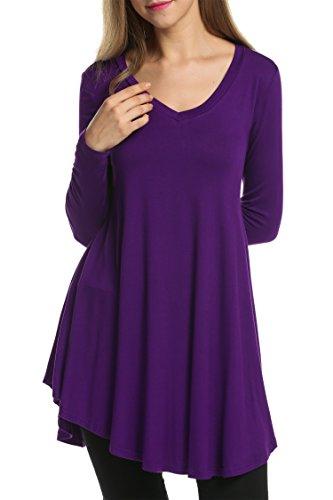 HOTOUCH Damen Tunika Schlupfbluse Longbluse Blusenshirt Gefummelt Kleid V-Ausschnitt Langarmshirt Casual Weich Stretch A Linie Typ1-Dunkellila