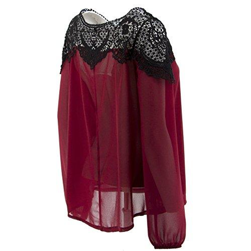 Netgozio Girlie-Shirt Perforierte Spitze Sexy Boots-Ansatz eine Andere Farbe Rot