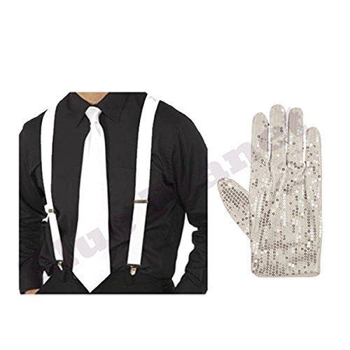 Erwachsene Herren Michael Jackson Billie Jeans Pailletten Handschuh, Hosenträger & Krawatte Kostüm - Weiß, one size
