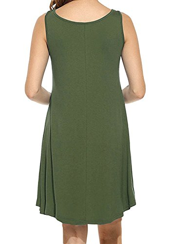 LILBETTER Frauen Rundhals Casual Loose T-Shirt Kleid 00 Armeegrün