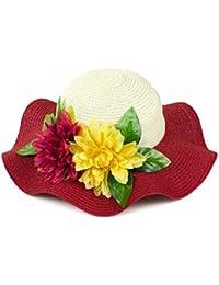 Señoras de Sun de la paja del visera del borde grande ancho Floppy Fold nadar sombrero de paja , red