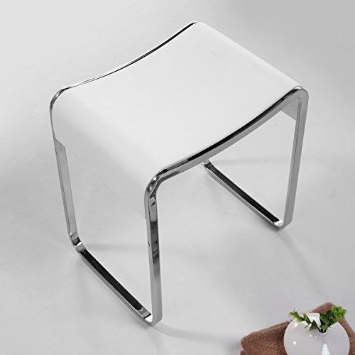 KKR Design Kunststein Badhocker/Duschhocker/Sitzhocker aus Mineralguss Modell: Stool-E, Oberfläche:Glänzend -