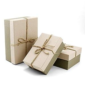 VEESUN Geschenkboxen 3 Set Verschiedene Größen, Luxus Präsentation Geschenkkarton mit Deckel, Pappschachteln für Muttertag Hochzeit Weihnachten Geburtstagsgeschenk Freund sie, Beige, MEHRWEG