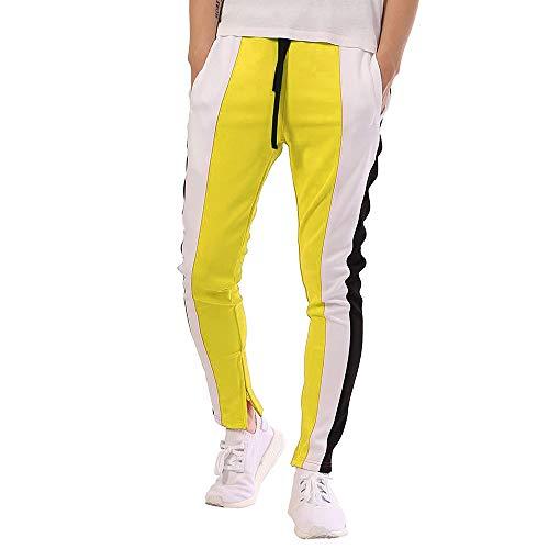 Geili Sporthose Herren Lang Mode Männer Kontrastfarbe Sport Fitness Hose Kordelzug Skinny Jogginghose Trainingshose Freizeithose M-3XL