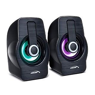 Audiocore AC855 Stereo-Lautsprecher mit Bunter LED-Beleuchtung PC-Lautsprecher 6W RMS USB-Stromversorgung Kompakt Schwarz