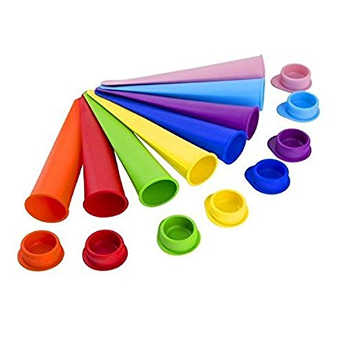 MJTP 8er-Set Mehrfarbig Silikon Eis Pop Maker Set,Ice Pop Formen Stieleisformer Eis Lutscher Stieleisformen Eisformen Beste Eiscreme Formen