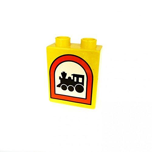 1 x Lego Duplo Motivstein gelb 1x2x2 bedruckt Zug Eisenbahn Verkehrs Schild Zeichen Bild Bau Stein 4066 pb013