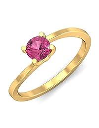 KuberBox 14k Yellow Gold And Pink Sapphire Ring - B00UYH46PO