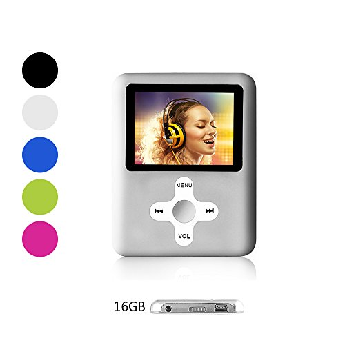 Btopllc MP3-Player,MP4 Player 16GB Karte,MP3 tragbarer Musik-Player,Video Player USB,MP3/MP4 Digitaler Musik Player Klassisch wiederaufladbar/Media Player/Video/Audio Player/Multimedia Player- Silber