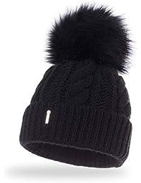 Amazon.es  gorros de lana con pompon de pelo - Accesorios   Mujer  Ropa b0236b999f63
