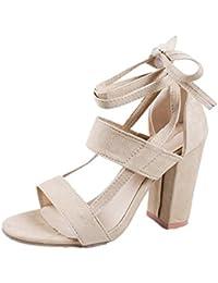 SHINIK Zapatos de mujer Suede Spring Summer Comfort Novedad Sandalias Open Toe Vendaje Para Boda y Noche Negro...