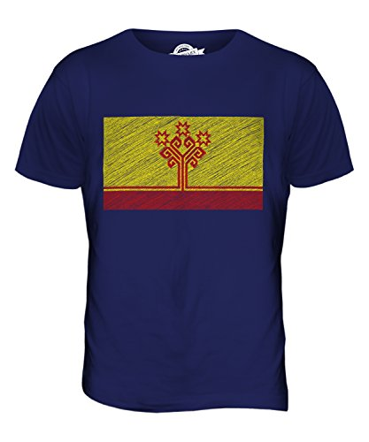 CandyMix Tschuwaschien Kritzelte Flagge Herren T Shirt Navy Blau
