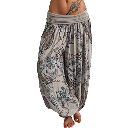 Hosen-stil Hose (Vertvie Damen Hosen Lang Bedrucken Pumphose Haremshose Sommerhose Yogahose Aladinhose Baggy Harem Stil mit Elastischen Bund(Grau 3, EU 50/Etikettengröße 5XL))