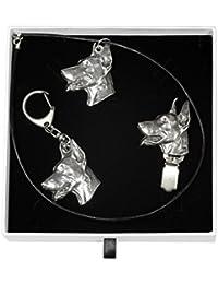 Dobermann, Hund Schlüsselring, Halskette und clipring in Sarg, Elegance  Set, Limitierte Auflage 4f4ac91558
