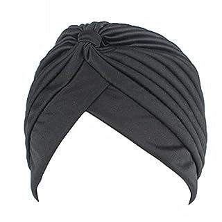 QHGstore Frauen Chemo Falten Vorgebundenen Kopf Cover Up Strickmütze Sun Turban Cap schwarz