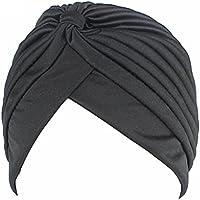 QHGstore Chemo Chemo plissé pré attaché Head Cover Up Bonnet Bonnet Sun Turban Cap rouge