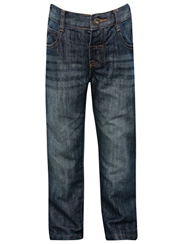 M&Co Boys Classic Wash Denim Adjustable Waistband Five Pocket Cotton Casual Jeans Dark Wash 8/9 Yr