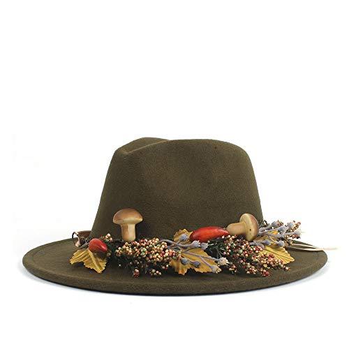SHENNANJI Frauen Derby-Hut , Grün Frauen Fühlten Sich Woolen Jazz Trilby Derby Fedora-Hüte mit Ledergürtel breiter Krempe Panama-Hut Einfacher Chapeau ()