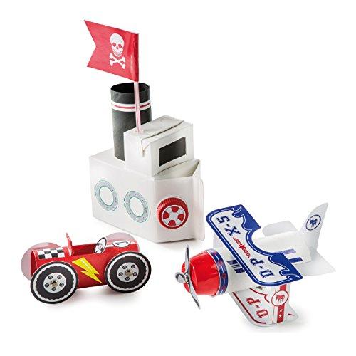 Donkey Products Pack & Play Motor World, Bastelset, Basteln, Spielzeug, Schiff, Auto, 400151 -