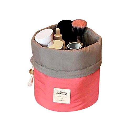 Borsa cosmetica,Beauty Case da Viaggio Borsa da Toilette Cosmetico Bag,Yanhoo® Reticolo del Rhombus Donne Borsa da Toilette Viaggio Trousse Trucco Custodia Migliore (14cm x 8cm, Rosa Caldo)