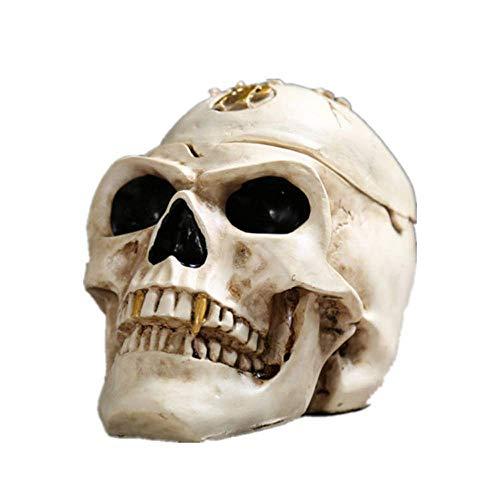 ALIXIN Totenkopf-Aschenbecher,Gothic,Menschlicher Totenkopf,Harz,Halloween,Gruselige Dekoration,Zigaretten Aschenbecher mit Deckel.Skelett-Figuren,als Raucherdekoration,Geschenke für Raucher.