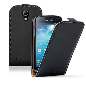Membrane - Ultra Slim Noir Étui Coque Samsung Galaxy S4 Mini (GT-i9190 / i9192 Dual Duos / i9195 LTE) - Flip Case Cover + 2 Films de protection d'écran