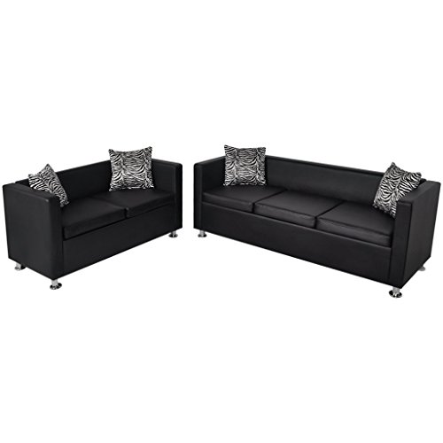 2-sitzer-set (vidaXL Sofa Set 3-Sitzer 2-Sitzer Kunstledersofa Loungesofa Couch Kissen schwarz)
