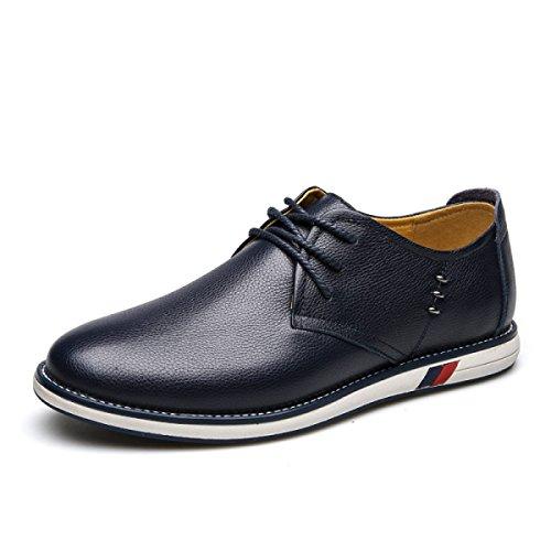 Lyzgf Hommes Mode Printemps-été Affaires Casual Mode Respirant Lace-up Chaussures En Cuir Bleu