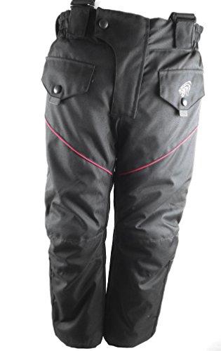 KENROD Motorradhose für Kinder. Cordura Gewebe mit herausnehmbaren Protektoren. Farbe Schwarz / rot. Größe 8.