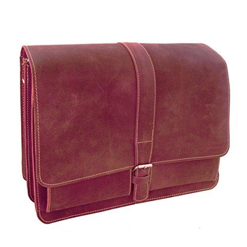 Made in Germany Umhängetasche - Schultasche NEW YORK aus rotem Leder mit 2 Fächern inkl. Bio-Lederpflege von THIELEMANN