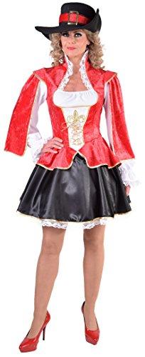 Musketier Kostüm Damen Rot - M217118-L Damen Musketier Kleid-Kostüm rot-schwarz-weiß