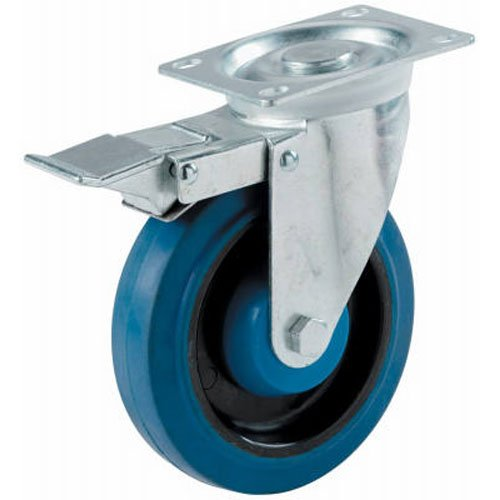 SHEPHERD HDWE  PROD   LLC  - 4-INCH BLUE SWIVEL PLATE CASTER/ BRAKE