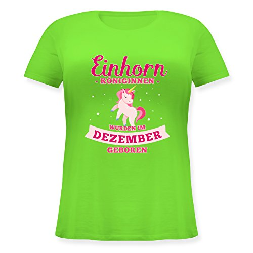 Shirtracer Geburtstag - Einhorn Königinnen Wurden IM Dezember Geboren - Lockeres Damen-Shirt in Großen Größen mit Rundhalsausschnitt Hellgrün