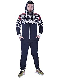 Hombres All In One One Piece Onesie Zip Up Mono con capucha S-XL