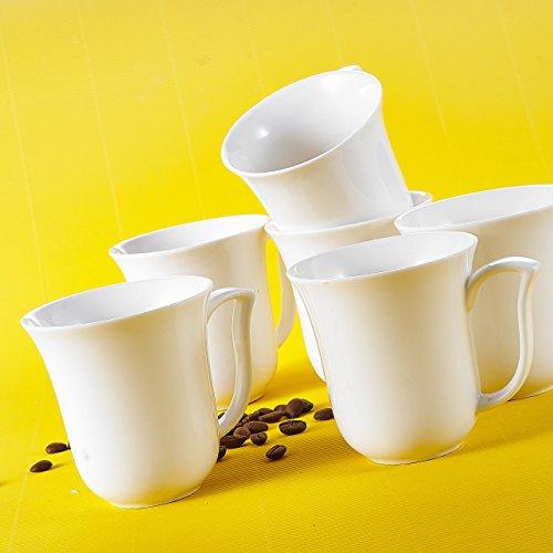 MALACASA, Serie Amparo, 18 TLG. Cremeweiß Porzellan Becher Kaffeebecher-Set Bechersets Tassen 4,75 Zoll / 340ml für 18 Personen