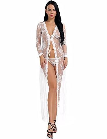 YiZYiF Transparent Kimono Blumen-Spitze Negligee Reizwäsche Nachtwäsche Morgenmantel Babydoll Lingerie Damen Dessous Set mit G-string Weiß S