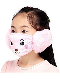 merymall 2-en-1 Máscaras lindas para la cara/orejas, Invierno de los niños Mantener las mascarillas calientes Cubrir la boca