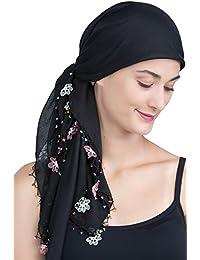 Quadratische Kopftücher mit Perlen für Haarausfall, Krebs, Chemo