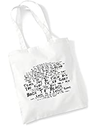 100% Baumwolltasche - AMY WINEHOUSE - Back To Black - Noir Paranoiac - Weiß 42 x 38 cm Tragetasche Musik Song Lyrisch Album Kunstdruck Plakat Wiederverwendbare Tote Strand Festival Einkaufend Tasche für Leben Geschenk von Lissome Art Studio - Cotton Music Lyrics Poster Art Tote Bag