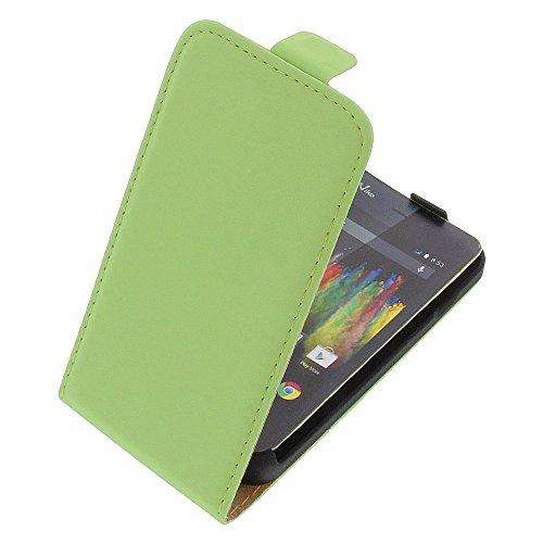 Tasche für Wiko Kite 4G Premium Flip Kunstleder grün