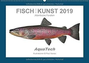 Fisch als Kunst 2019: Atlantische Forellen (Wandkalender 2019 DIN A2 quer): Mit 13 wissenschaftlichen Farbillustrationen (Monatskalender, 14 Seiten) (CALVENDO Tiere)