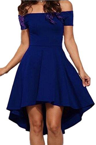 Féminin, élégant au large de la robe épaules haut bas Swing blue