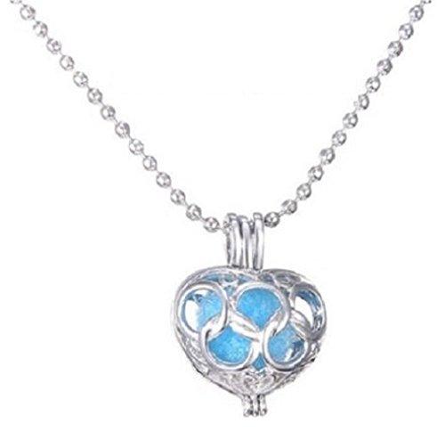 Silber Aromatherapie Hohl Herz Anhänger Halskette Set 6Kugeln Öl Parfüm Duft UK (Aromatherapie-schaum)