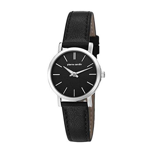 Montre mixte adulte Pierre Cardin Quartz- Affichage Date Standard bracelet Cuir Noir et Cadran Noir PC106632F02