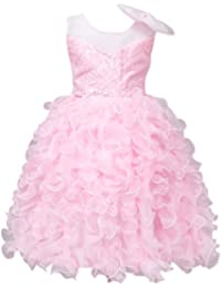 MISSMAO Abito Elegante da Bambina Senza Maniche Vestito di Ricamo Abito da  Sposa Ragazze per Feste Cocktail Rosa 5-6 Anni Rosa… 729470a769c