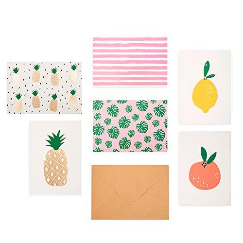 Outshine Leere Grußkarten mit Umschlägen in einer niedlichen Aufbewahrungsbox (danke und Geschäftsanmerkungen) stationäres Geschenk der Ananaszitrone (6 Designs) 3,5