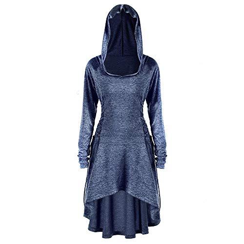 Damen Gothic Mäntel, Steampunk mittelalterliche Viktorianische Westen,Taille Rücken Bandage Stitching Overcoat,Vintage Gehrock Uniform Kostüm Windbreaker WQIANGHZI (Marine, ()