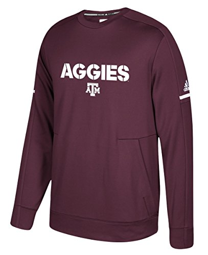 Texas A&M Aggies Adidas NCAA Men's Sideline Player Crew Sweatshirt (Sweatshirt Texas Crew)