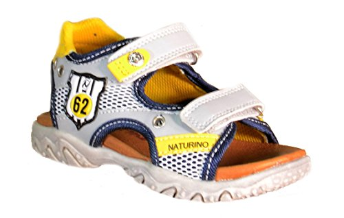 Naturino - Naturino Sandaletti Bambino Grigi Pelle Tela Strappi Sport 495 - Grigio, 27