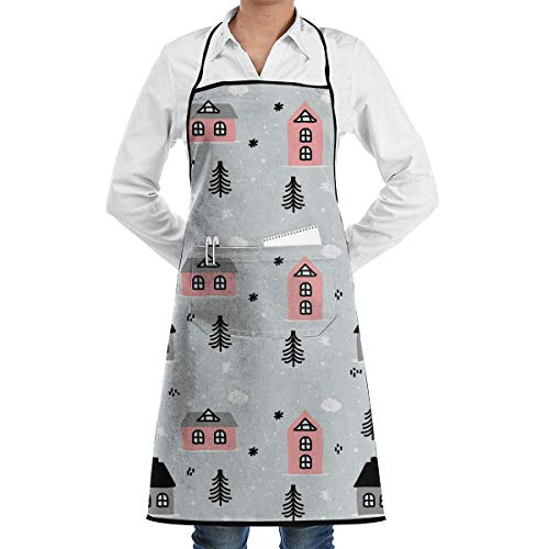Osmykqe Hand Drawn Winter House Pattern Aprons Bib for Mens Womens Server Lace Adjustable Adult Kitchen Waiter Aprons with Pockets 1850 Server